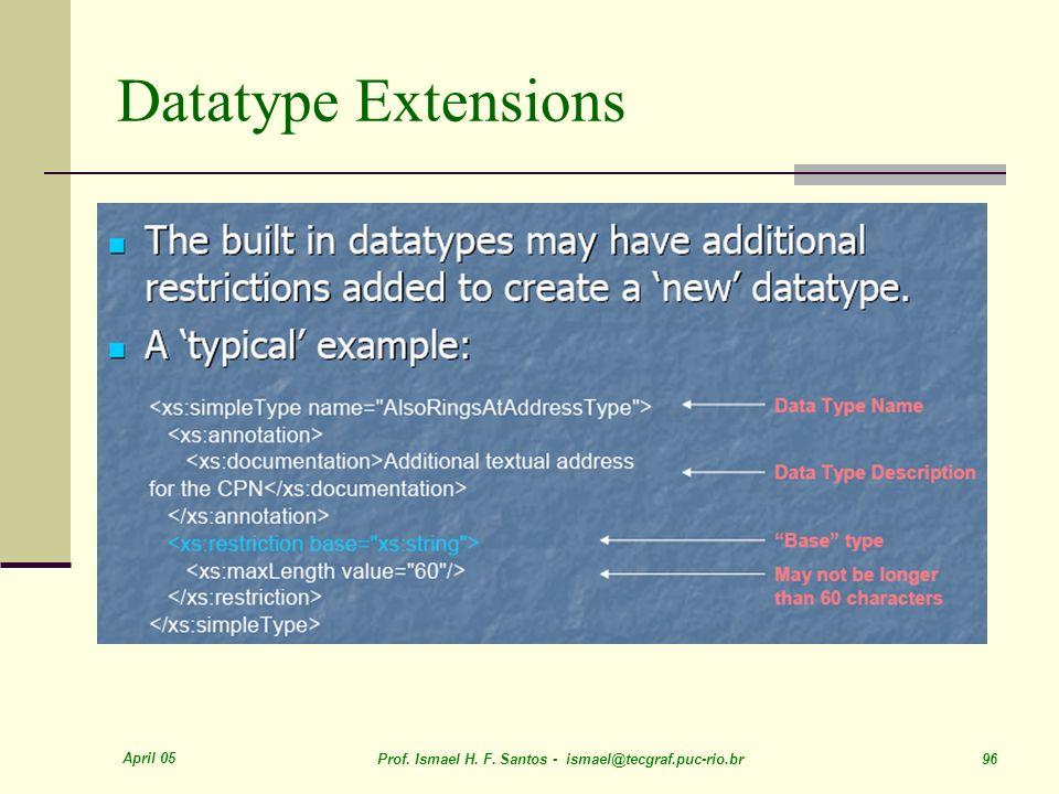 April 05 Prof. Ismael H. F. Santos - ismael@tecgraf.puc-rio.br 96 Datatype Extensions