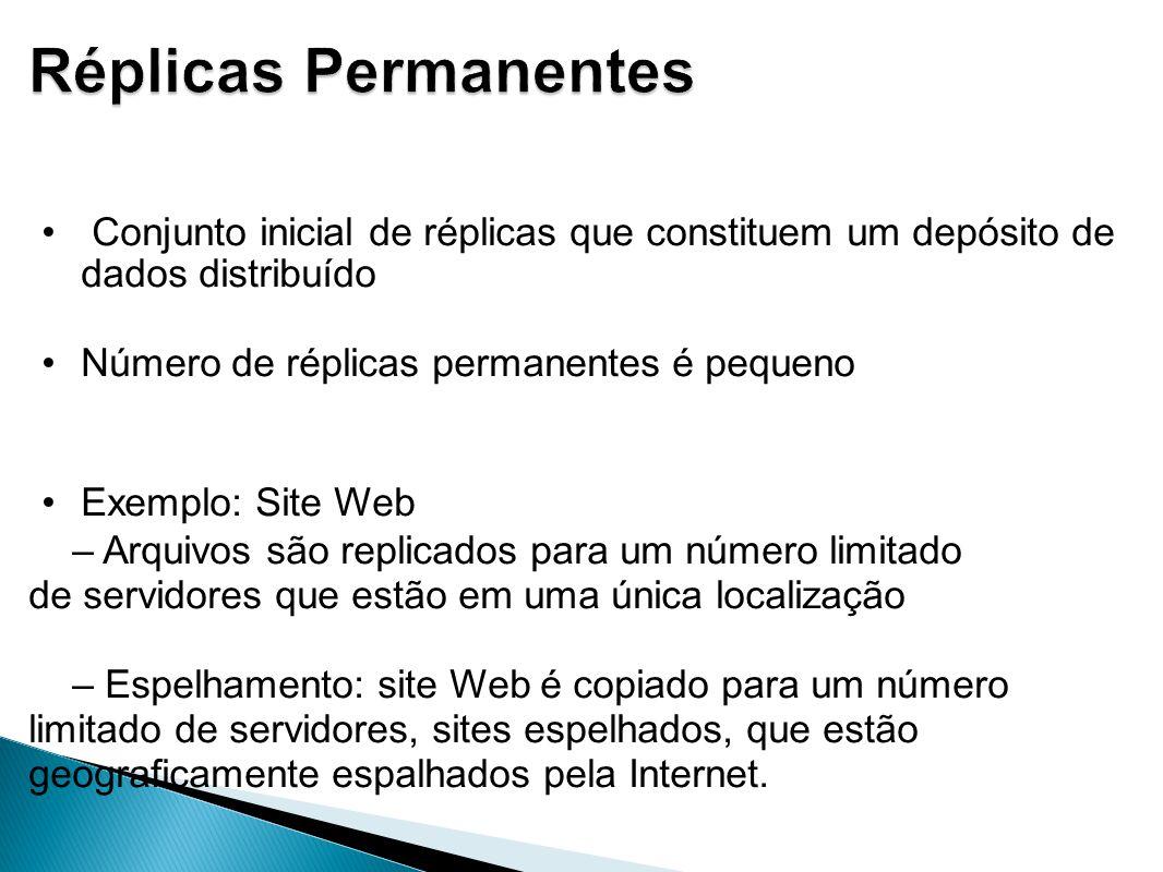 Conjunto inicial de réplicas que constituem um depósito de dados distribuído Número de réplicas permanentes é pequeno Exemplo: Site Web – Arquivos são