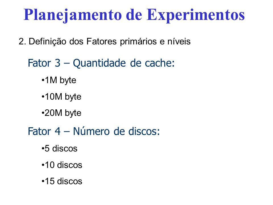 Fator 3 – Quantidade de cache: 1M byte 10M byte 20M byte Fator 4 – Número de discos: 5 discos 10 discos 15 discos Planejamento de Experimentos 2.