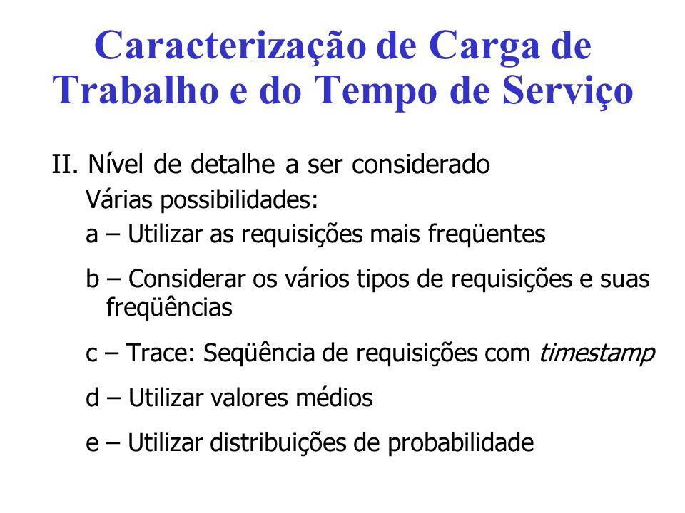 Caracterização de Carga de Trabalho e do Tempo de Serviço II.
