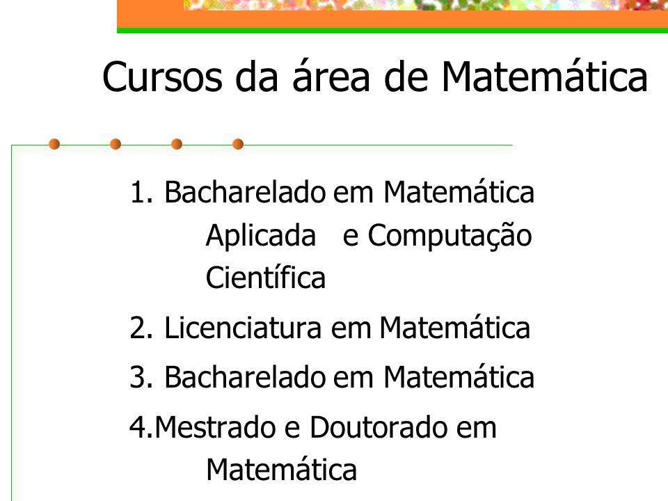Cursos da área de Matemática 1. Bacharelado em Matemática Aplicada e Computação Científica 2. Licenciatura em Matemática 3. Bacharelado em Matemática