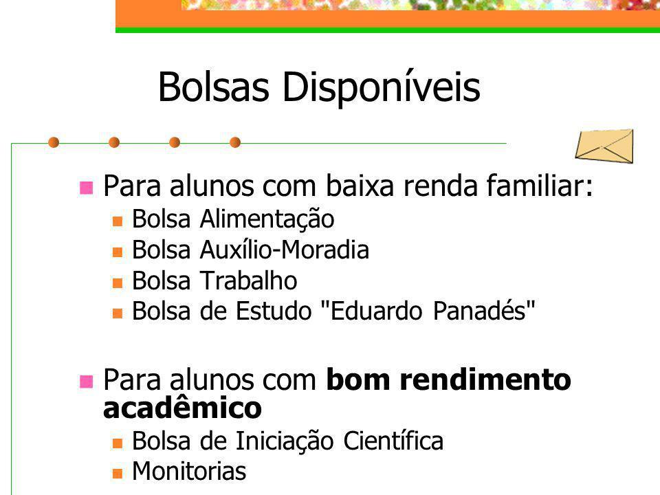 Bolsas Disponíveis Para alunos com baixa renda familiar: Bolsa Alimentação Bolsa Auxílio-Moradia Bolsa Trabalho Bolsa de Estudo