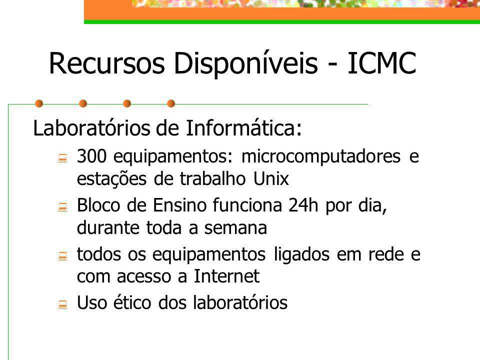 Recursos Disponíveis - ICMC Laboratórios de Informática: 300 equipamentos: microcomputadores e estações de trabalho Unix Bloco de Ensino funciona 24h