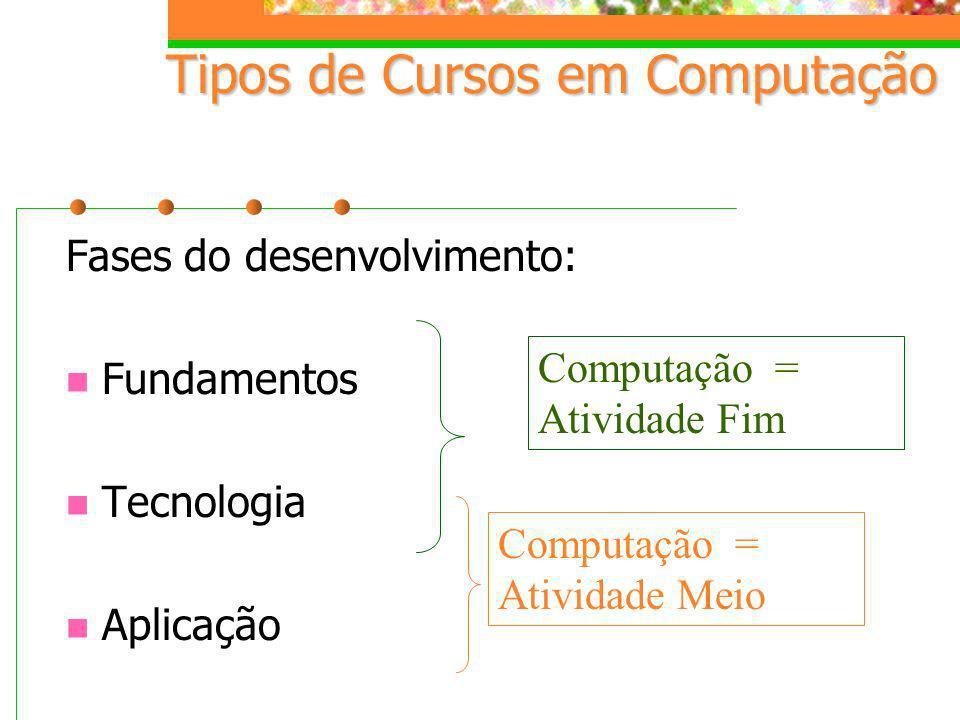 Tipos de Cursos em Computação Fases do desenvolvimento: Fundamentos Tecnologia Aplicação Computação = Atividade Fim Computação = Atividade Meio