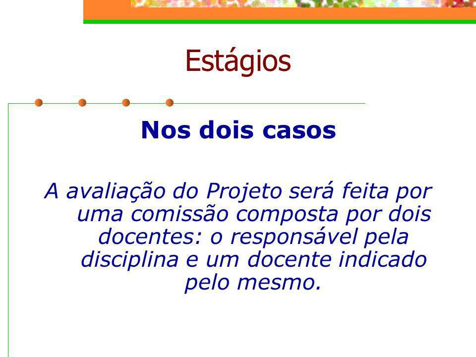 Nos dois casos A avaliação do Projeto será feita por uma comissão composta por dois docentes: o responsável pela disciplina e um docente indicado pelo