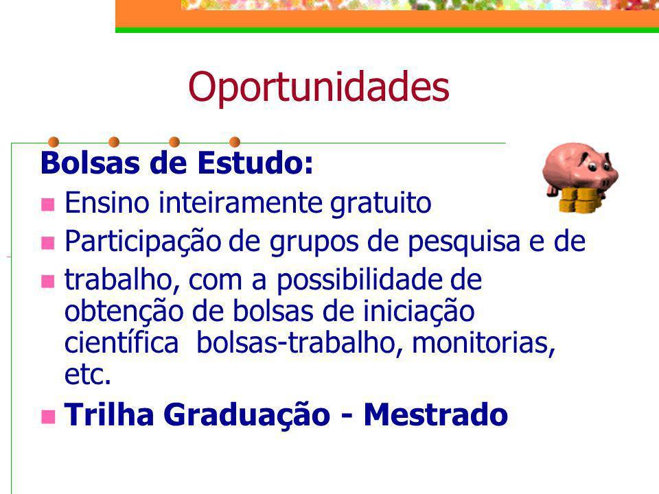 Oportunidades Bolsas de Estudo: Ensino inteiramente gratuito Participação de grupos de pesquisa e de trabalho, com a possibilidade de obtenção de bols