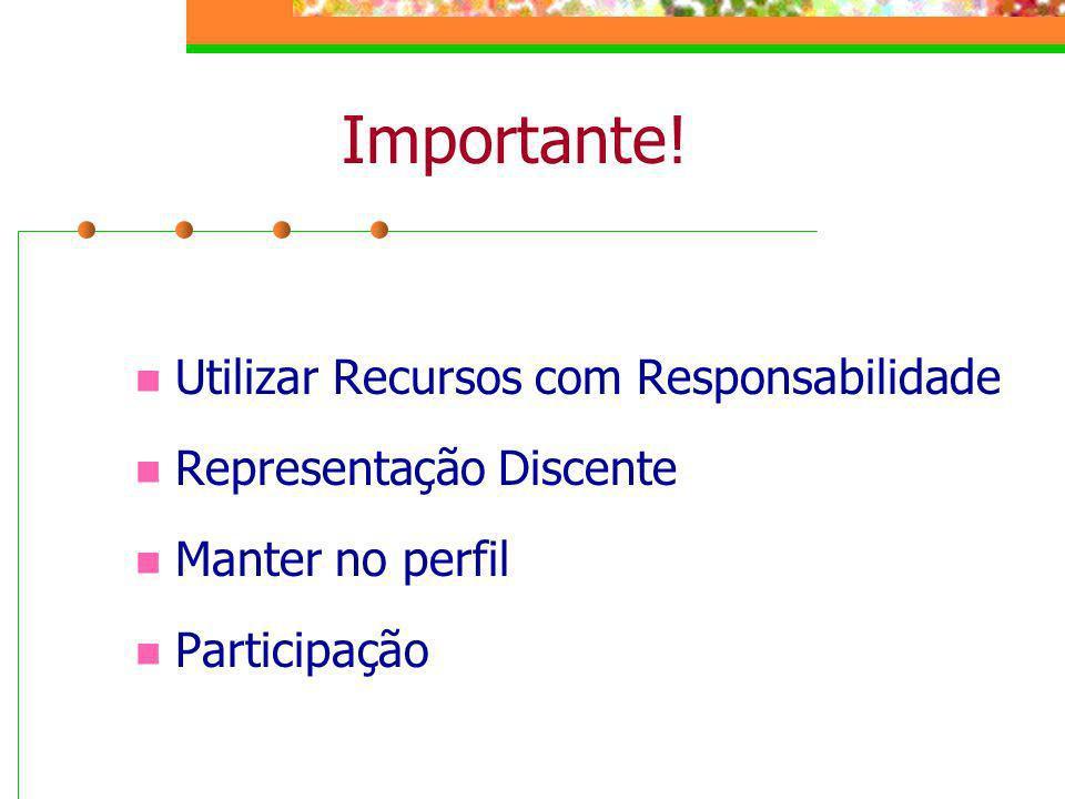 Importante! Utilizar Recursos com Responsabilidade Representação Discente Manter no perfil Participação