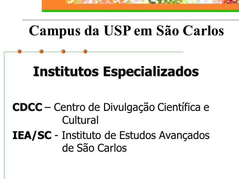 Campus da USP São Carlos ICMC Instituto de Ciências Matemáticas e de Computação EESC Escola de Engenharia de São Carlos IFSC Instituto de Física de São Carlos IQSC Instituto de Química de São Carlos