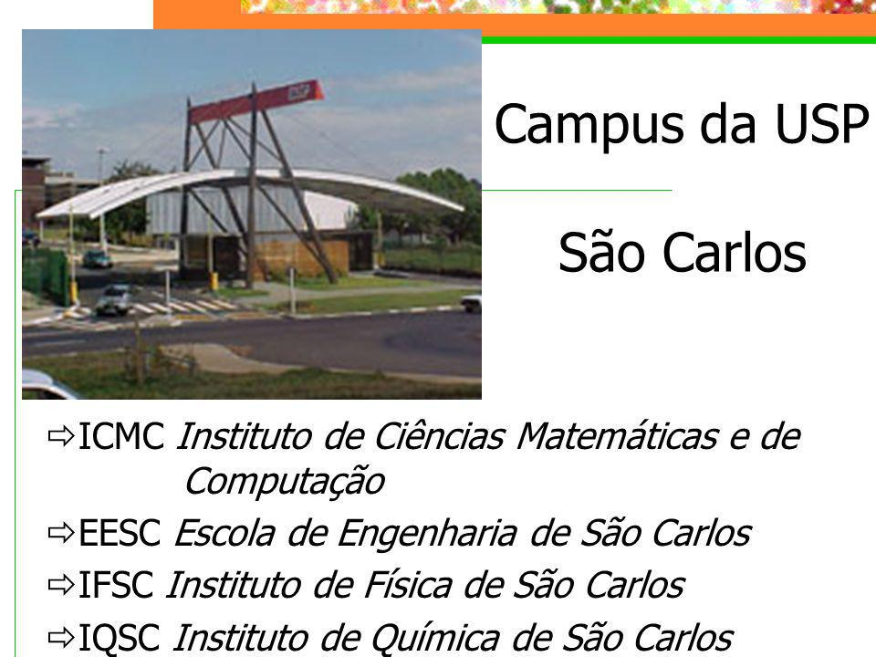 Campus da USP São Carlos ICMC Instituto de Ciências Matemáticas e de Computação EESC Escola de Engenharia de São Carlos IFSC Instituto de Física de Sã