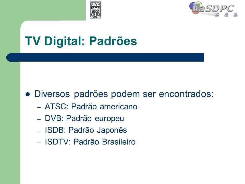TV Digital: Padrões Diversos padrões podem ser encontrados: – ATSC: Padrão americano – DVB: Padrão europeu – ISDB: Padrão Japonês – ISDTV: Padrão Bras