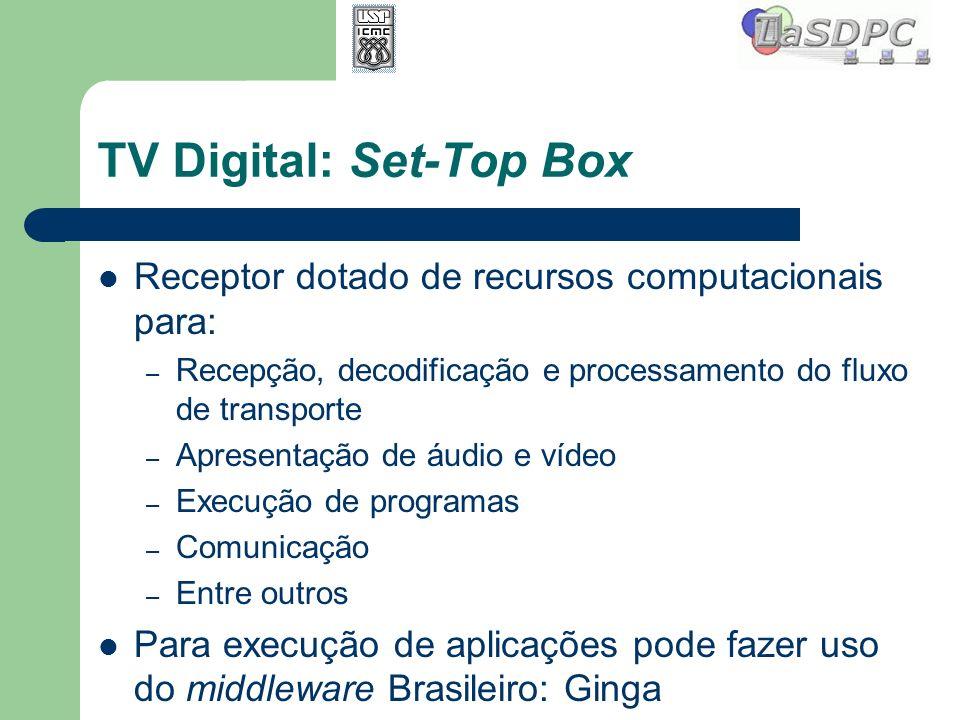 TV Digital: Set-Top Box Receptor dotado de recursos computacionais para: – Recepção, decodificação e processamento do fluxo de transporte – Apresentaç