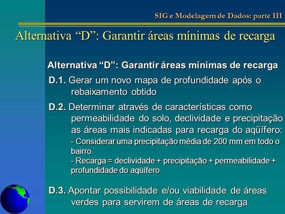 Alternativa D: Garantir áreas mínimas de recarga D.1. Gerar um novo mapa de profundidade após o rebaixamento obtido D.2. Determinar através de caracte