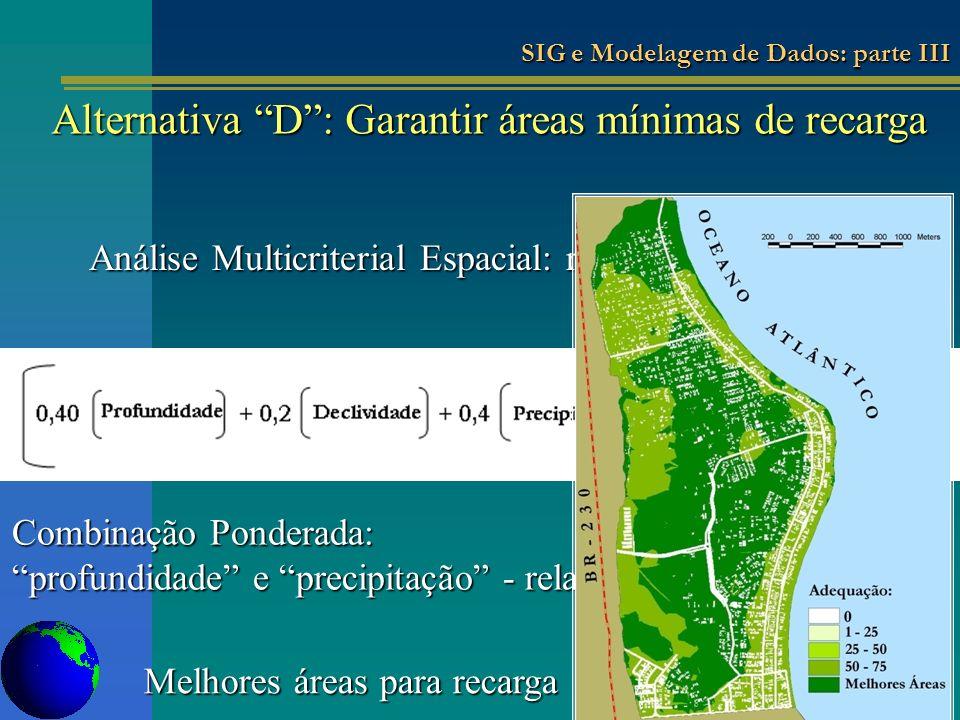 Análise Multicriterial Espacial: representação algébrica Combinação Ponderada: profundidade e precipitação - relativamente o mesmo peso Melhores áreas