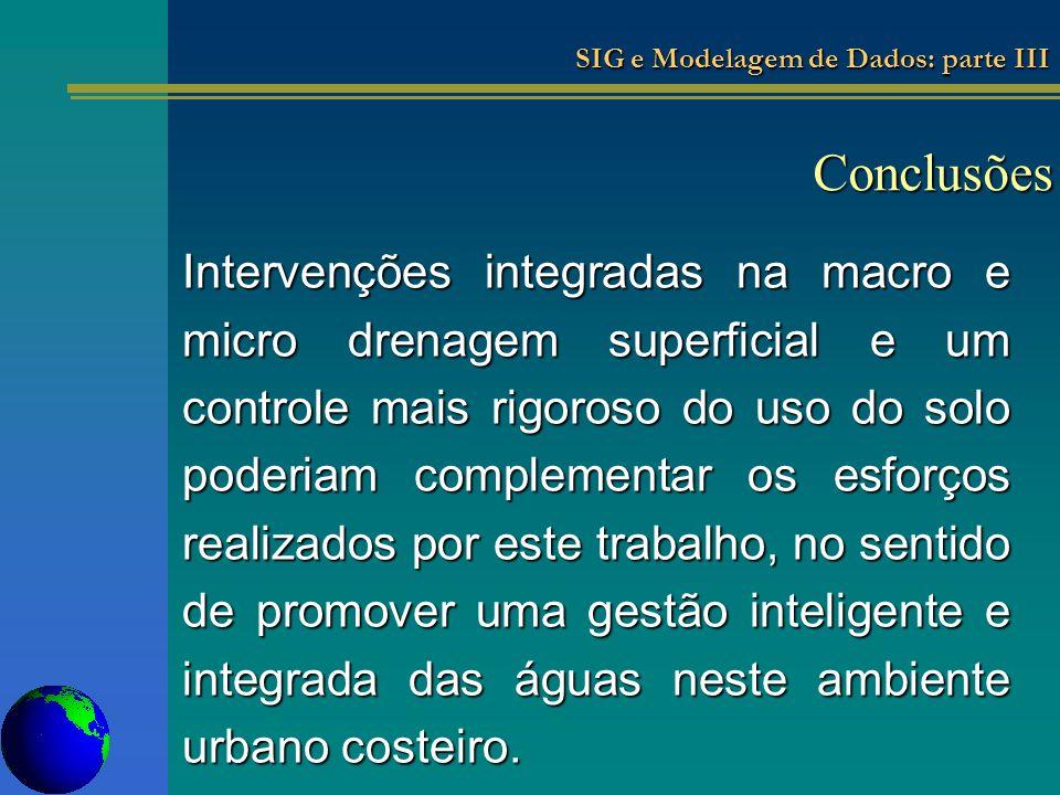 Conclusões Intervenções integradas na macro e micro drenagem superficial e um controle mais rigoroso do uso do solo poderiam complementar os esforços