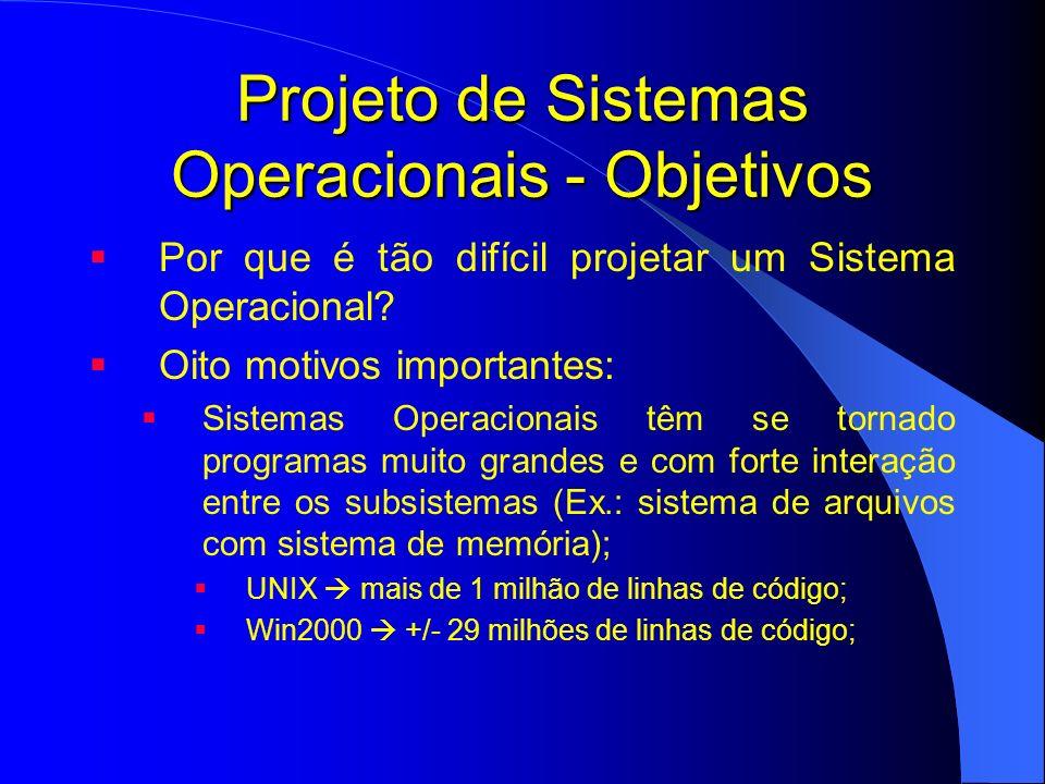 Projeto de Sistemas Operacionais - Objetivos Por que é tão difícil projetar um Sistema Operacional? Oito motivos importantes: Sistemas Operacionais tê
