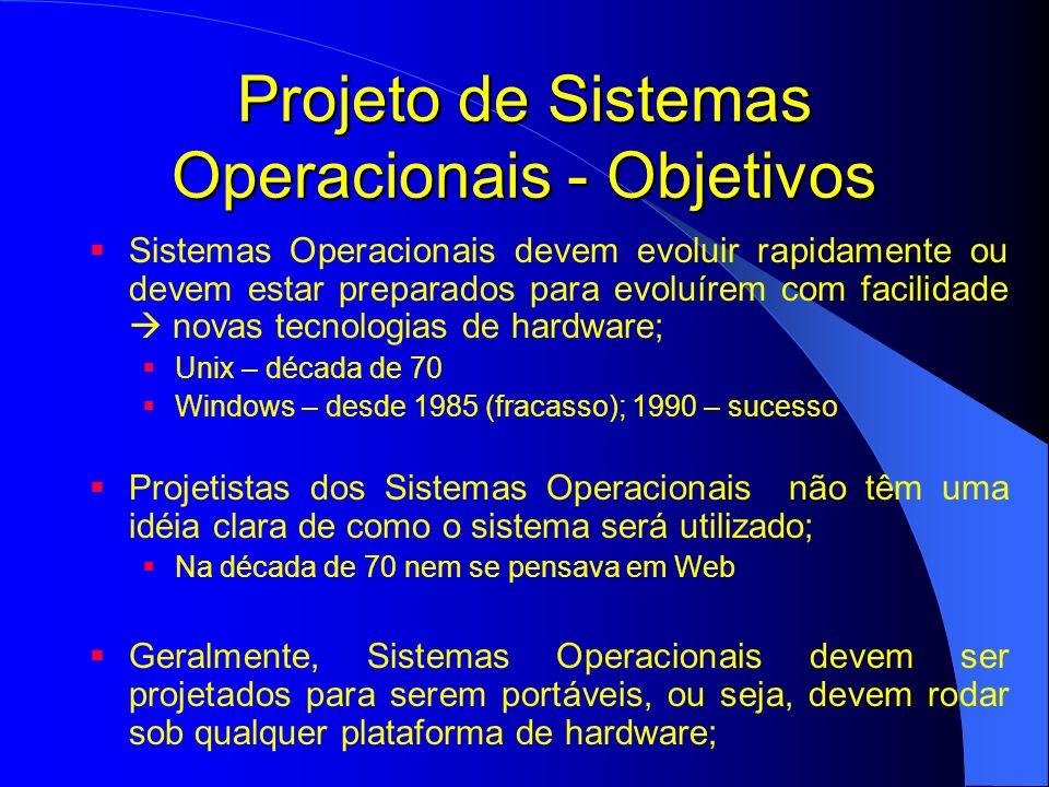 Projeto de Sistemas Operacionais - Objetivos Sistemas Operacionais devem evoluir rapidamente ou devem estar preparados para evoluírem com facilidade n