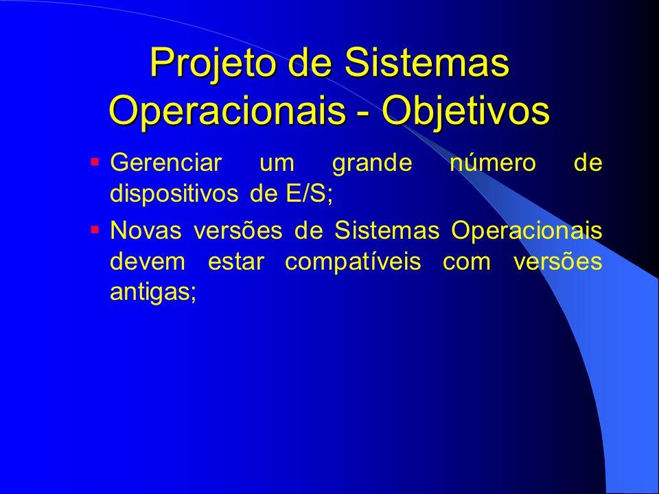Projeto de Sistemas Operacionais - Objetivos Gerenciar um grande número de dispositivos de E/S; Novas versões de Sistemas Operacionais devem estar com