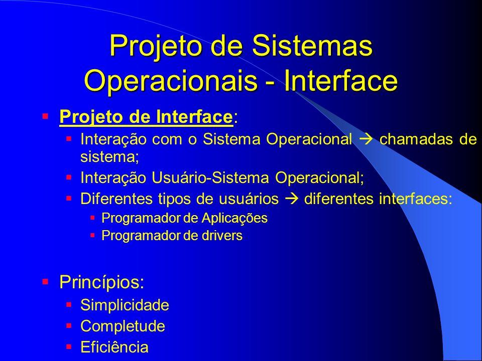 Projeto de Sistemas Operacionais - Interface Projeto de Interface: Interação com o Sistema Operacional chamadas de sistema; Interação Usuário-Sistema