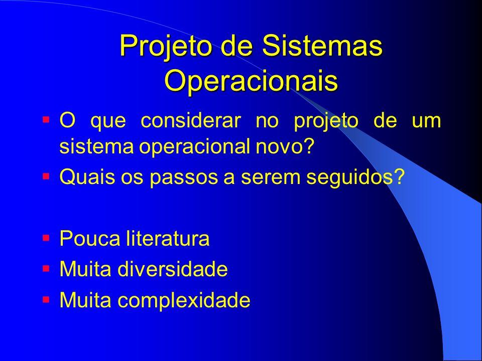 Projeto de Sistemas Operacionais - Interface Dois tipos de clientes para o SO: Usuário interagem com os programas aplicativos interface gráfica Programadores Escrevem os aplicativos Interface do sistema