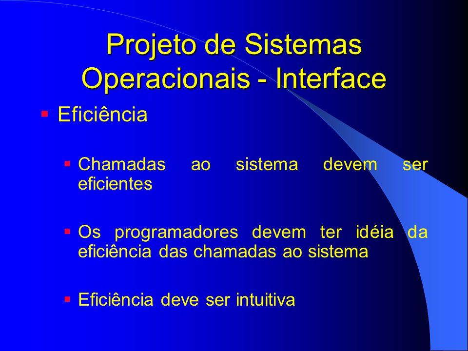Projeto de Sistemas Operacionais - Interface Eficiência Chamadas ao sistema devem ser eficientes Os programadores devem ter idéia da eficiência das ch