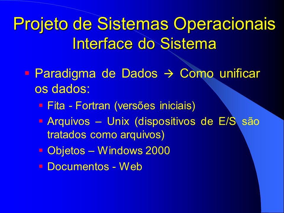 Projeto de Sistemas Operacionais Interface do Sistema Paradigma de Dados Como unificar os dados: Fita - Fortran (versões iniciais) Arquivos – Unix (di