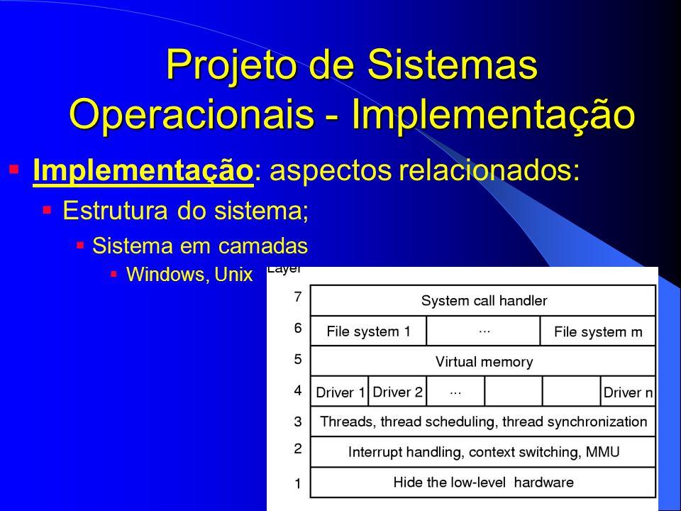 Projeto de Sistemas Operacionais - Implementação Implementação: aspectos relacionados: Estrutura do sistema; Sistema em camadas Windows, Unix