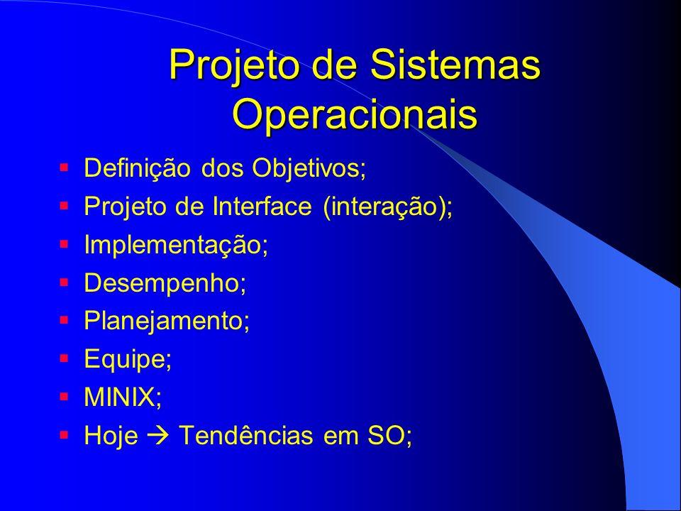 Projeto de Sistemas Operacionais Definição dos Objetivos; Projeto de Interface (interação); Implementação; Desempenho; Planejamento; Equipe; MINIX; Ho