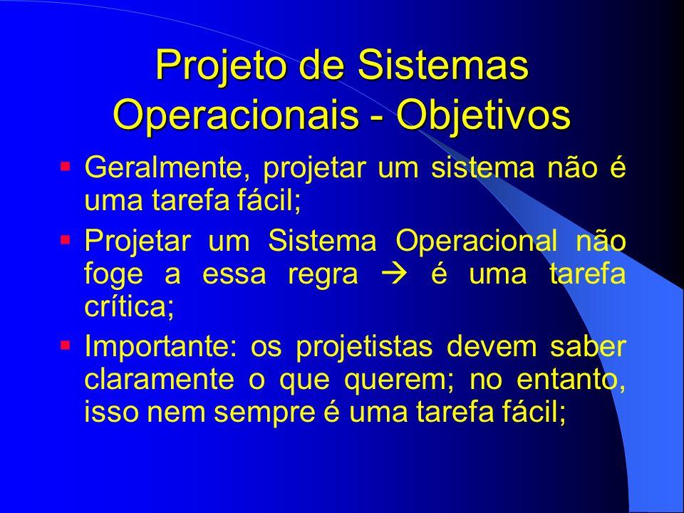 Projeto de Sistemas Operacionais - Objetivos Propósitos podem variar dependendo do tipo de sistema; No entanto, alguns propósitos são comuns: Definir abstrações; Prover primitivas; Garantir isolamento (privacidade); Gerenciamento de hardware;