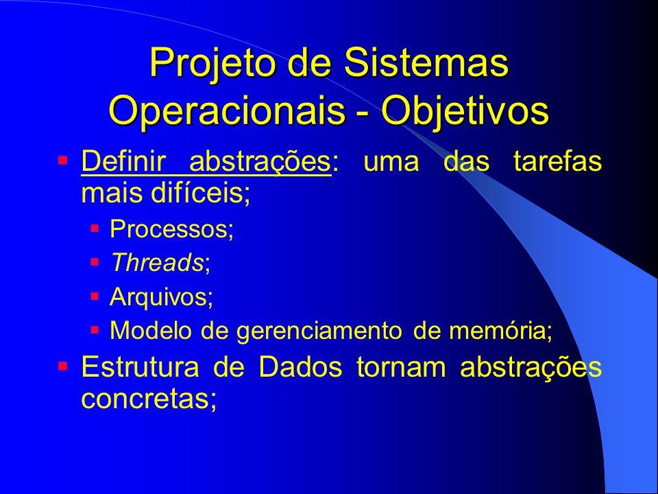 Projeto de Sistemas Operacionais - Objetivos Prover primitivas: quais operações primitivas são implementadas para manipular as abstrações; Chamadas de sistema; Exemplo Para abstração arquivo – quais primitivas.