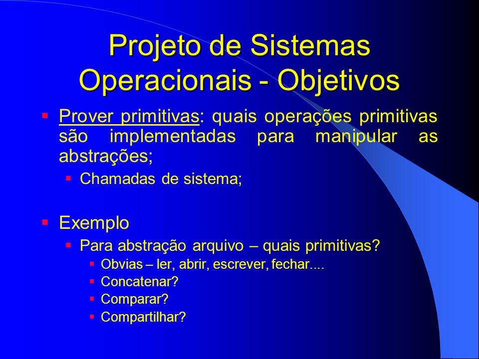 Projeto de Sistemas Operacionais - Interface Projeto de Interface: Interação com o Sistema Operacional chamadas de sistema; Interação Usuário-Sistema Operacional; Diferentes tipos de usuários diferentes interfaces: Programador de Aplicações Programador de drivers Princípios: Simplicidade Completude Eficiência