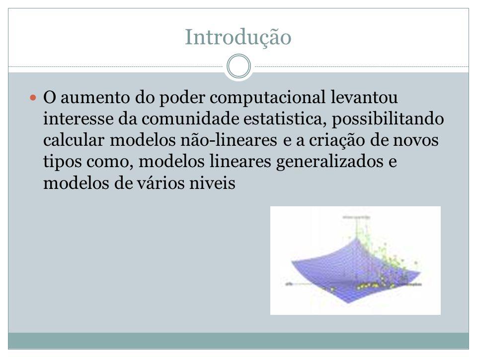 Introdução O aumento do poder computacional levantou interesse da comunidade estatistica, possibilitando calcular modelos não-lineares e a criação de