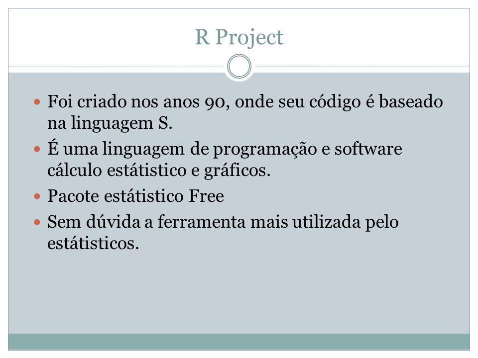 R Project Foi criado nos anos 90, onde seu código é baseado na linguagem S. É uma linguagem de programação e software cálculo estátistico e gráficos.