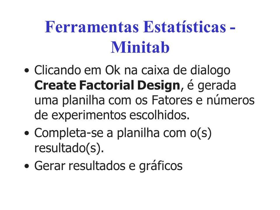 Ferramentas Estatísticas - Minitab Clicando em Ok na caixa de dialogo Create Factorial Design, é gerada uma planilha com os Fatores e números de exper