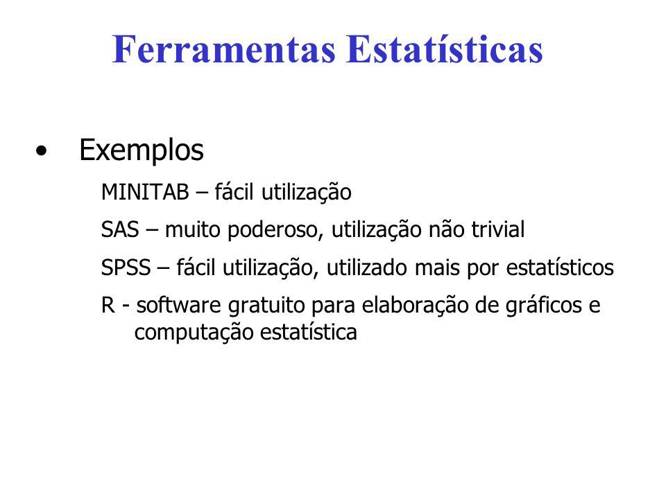 Ferramentas Estatísticas Exemplos MINITAB – fácil utilização SAS – muito poderoso, utilização não trivial SPSS – fácil utilização, utilizado mais por estatísticos R - software gratuito para elaboração de gráficos e computação estatística