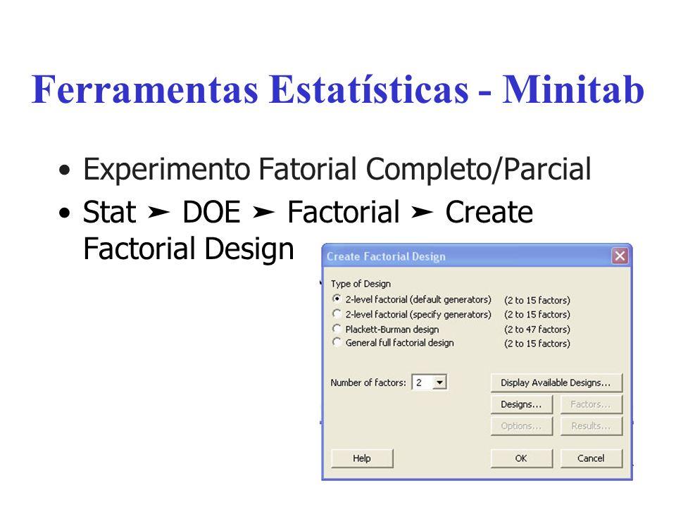 Ferramentas Estatísticas - Minitab Experimento Fatorial Completo/Parcial Stat DOE Factorial Create Factorial Design