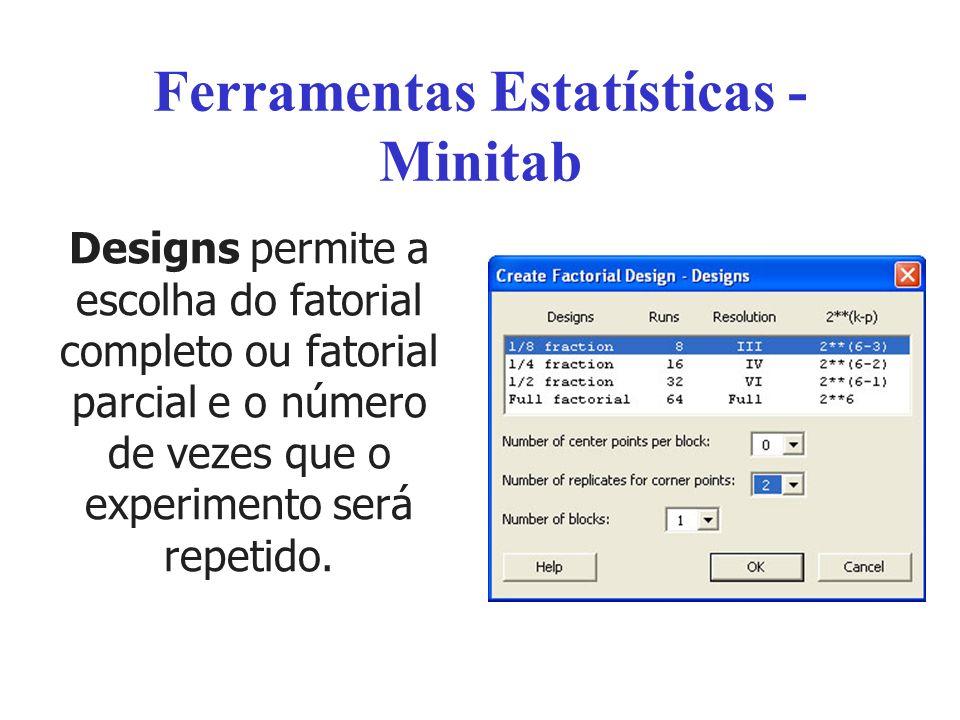 Ferramentas Estatísticas - Minitab Designs permite a escolha do fatorial completo ou fatorial parcial e o número de vezes que o experimento será repet