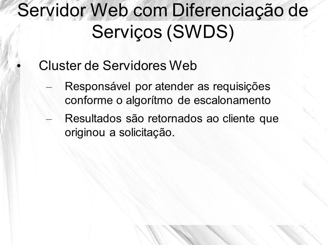 Servidor Web com Diferenciação de Serviços (SWDS) Cluster de Servidores Web – Responsável por atender as requisições conforme o algorítmo de escalonam