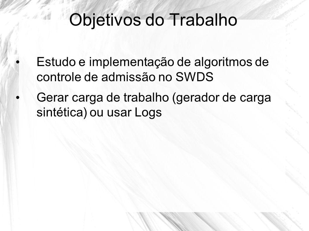 Objetivos do Trabalho Estudo e implementação de algoritmos de controle de admissão no SWDS Gerar carga de trabalho (gerador de carga sintética) ou usa