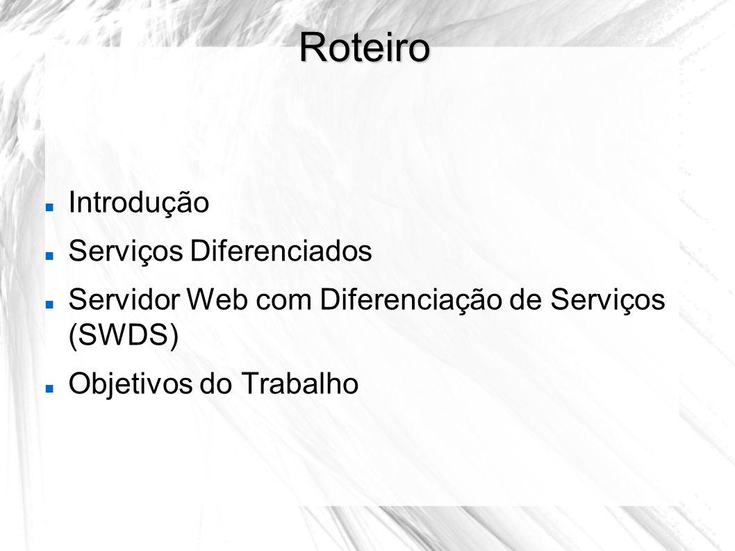 Roteiro Introdução Serviços Diferenciados Servidor Web com Diferenciação de Serviços (SWDS) Objetivos do Trabalho