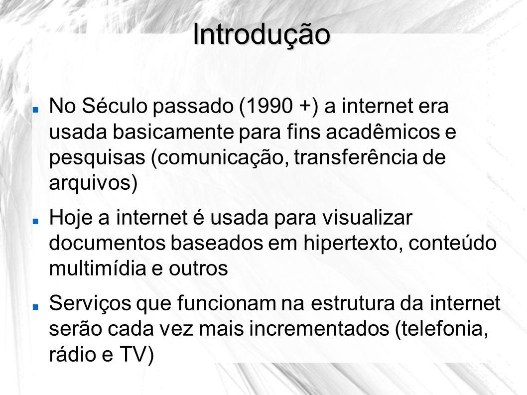 Introdução No Século passado (1990 +) a internet era usada basicamente para fins acadêmicos e pesquisas (comunicação, transferência de arquivos) Hoje