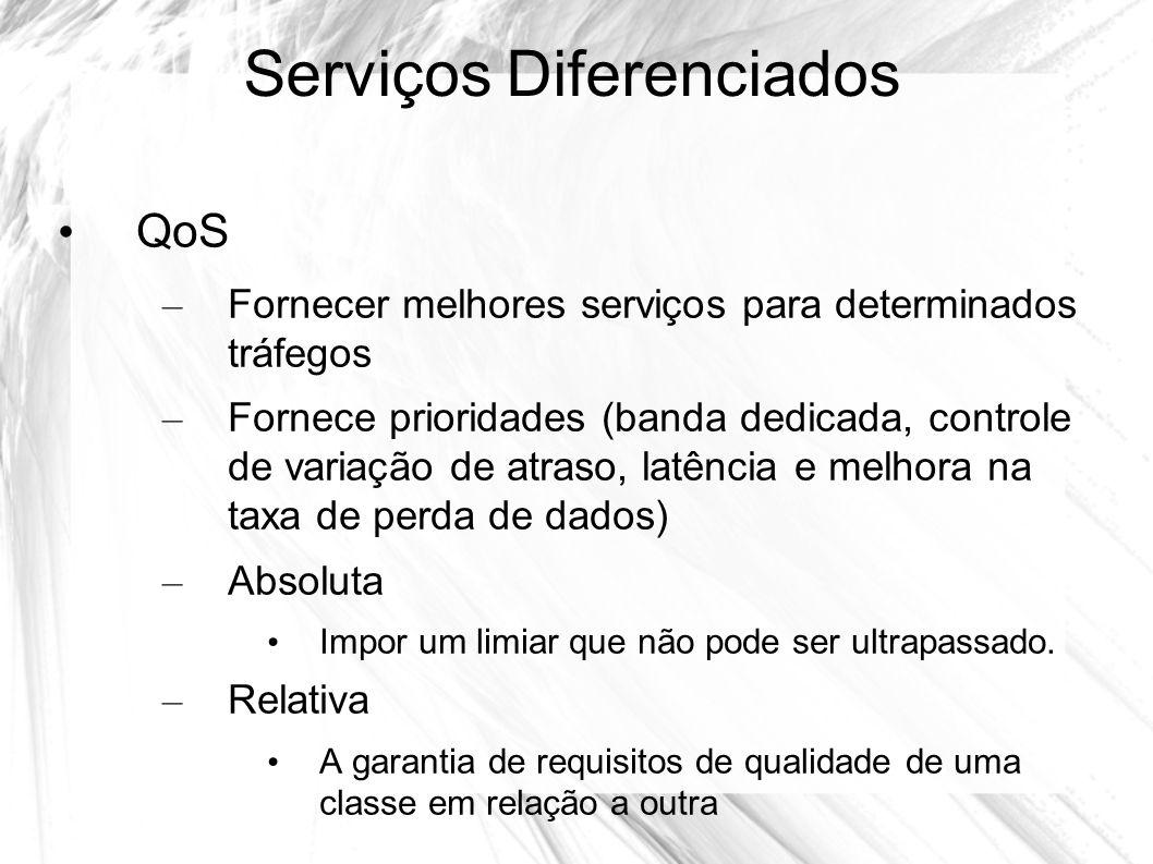 Serviços Diferenciados QoS – Fornecer melhores serviços para determinados tráfegos – Fornece prioridades (banda dedicada, controle de variação de atra