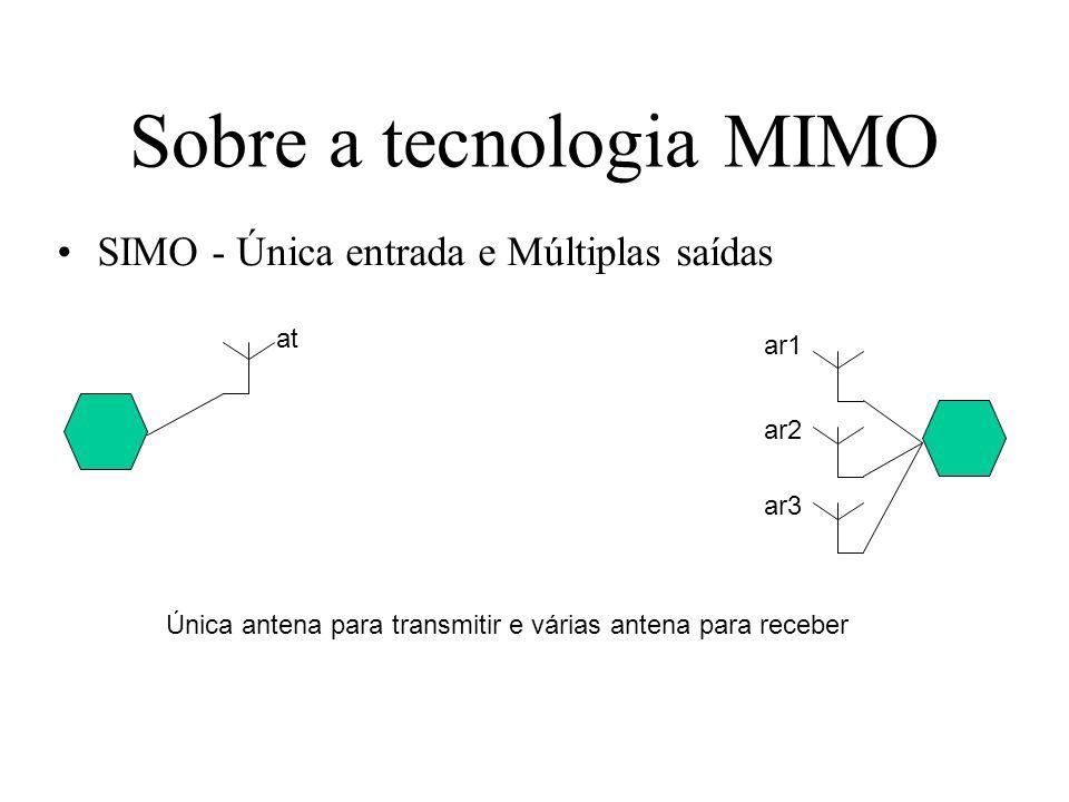 Sobre a tecnologia MIMO SIMO - Única entrada e Múltiplas saídas at Única antena para transmitir e várias antena para receber ar1 ar2 ar3