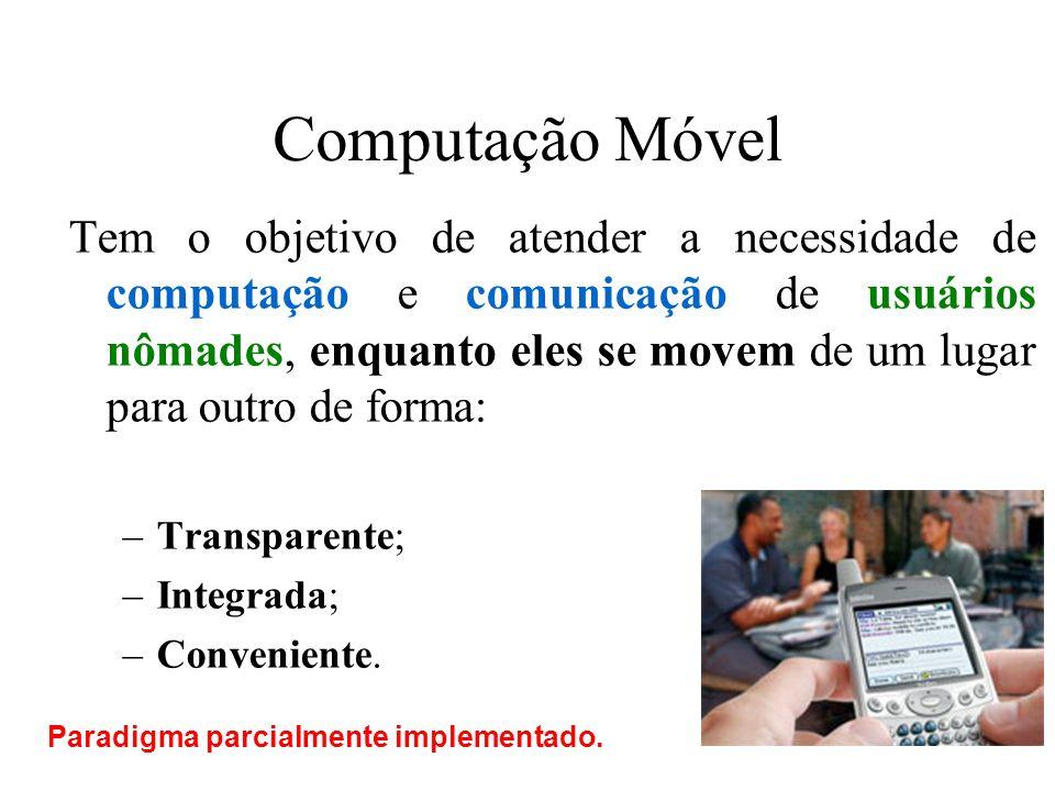 Computação Móvel Tem o objetivo de atender a necessidade de computação e comunicação de usuários nômades, enquanto eles se movem de um lugar para outr