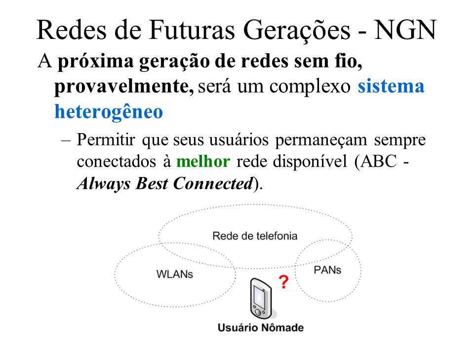 Redes de Futuras Gerações - NGN A próxima geração de redes sem fio, provavelmente, será um complexo sistema heterogêneo –Permitir que seus usuários pe