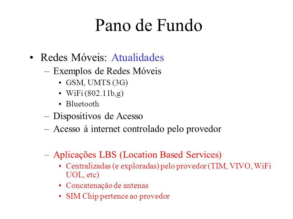 Pano de Fundo Redes Móveis: Atualidades –Exemplos de Redes Móveis GSM, UMTS (3G) WiFi (802.11b,g) Bluetooth –Dispositivos de Acesso –Acesso à internet
