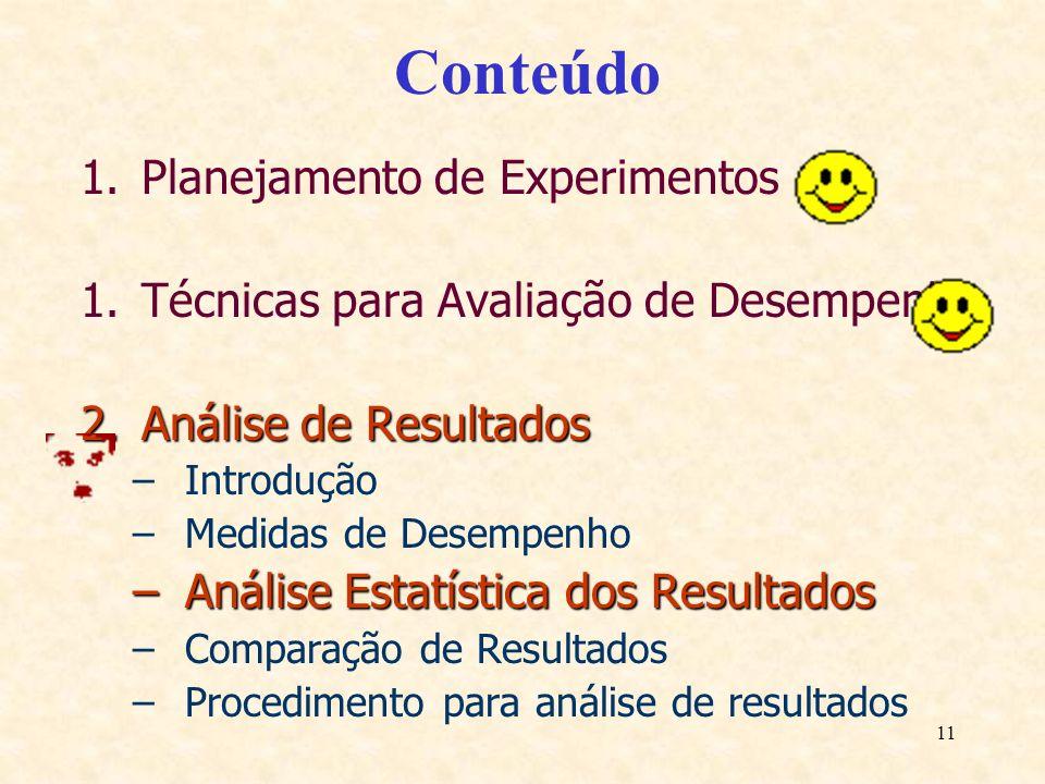 11 Conteúdo 1.Planejamento de Experimentos 1.Técnicas para Avaliação de Desempenho 2.Análise de Resultados –Introdução –Medidas de Desempenho –Análise