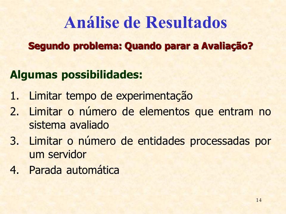 14 Análise de Resultados Segundo problema: Quando parar a Avaliação? Algumas possibilidades: 1.Limitar tempo de experimentação 2.Limitar o número de e