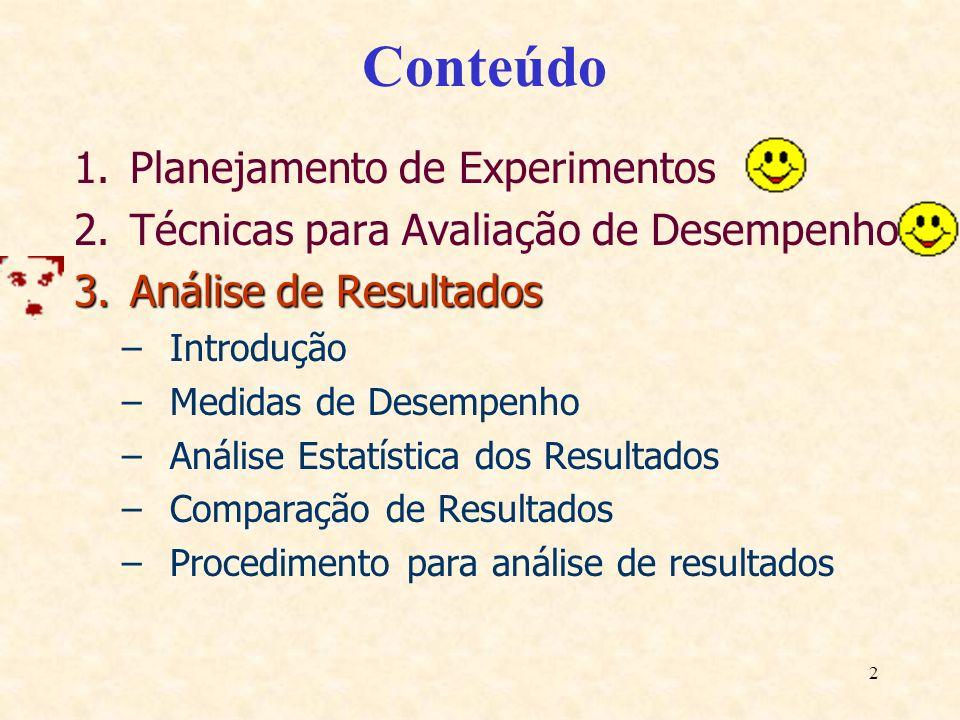 2 Conteúdo 1.Planejamento de Experimentos 2.Técnicas para Avaliação de Desempenho 3.Análise de Resultados –Introdução –Medidas de Desempenho –Análise