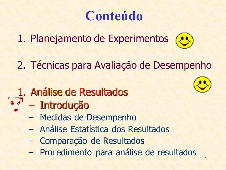 3 Conteúdo 1.Planejamento de Experimentos 2.Técnicas para Avaliação de Desempenho 1.Análise de Resultados –Introdução –Medidas de Desempenho –Análise
