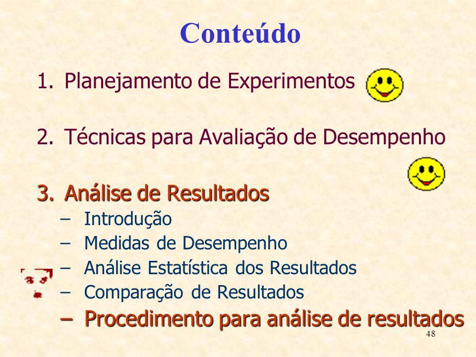48 Conteúdo 1.Planejamento de Experimentos 2.Técnicas para Avaliação de Desempenho 3.Análise de Resultados –Introdução –Medidas de Desempenho –Análise